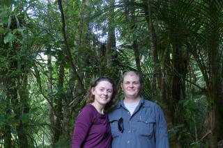 Eli and I at the end of our short forest hike to the waterfall