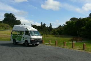 Our home on wheels for the next 2.5 weeks, parked at our second stop, Moirs Hill Walkway.