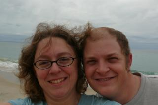 Eli and I after walking the beach to stretch our legs after an hour or so of windy road driving.